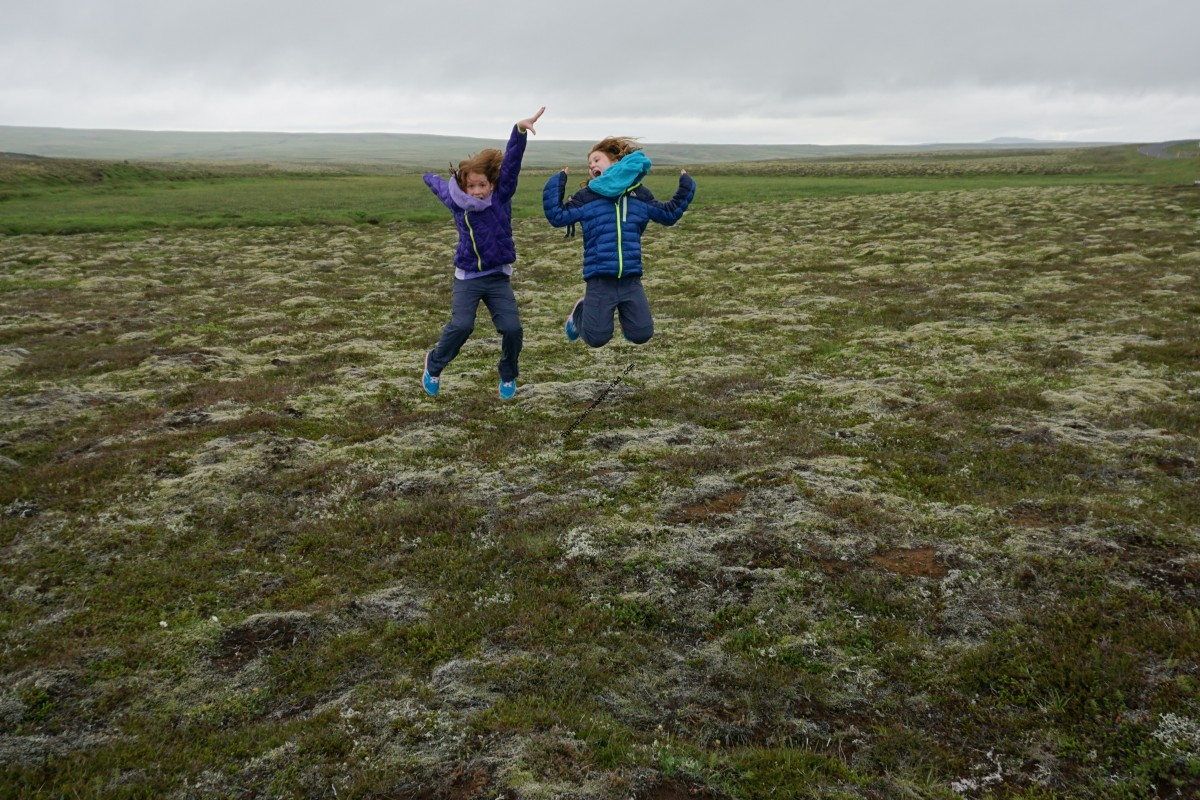 Bouncing on the moss fields near Thingvellir.
